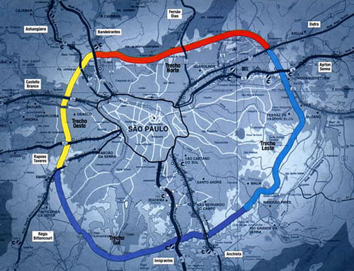 Mapa Rodoanel SP Techo Sul – Techo Norte – Trecho Leste – Techo Oeste