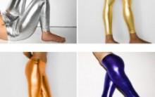 Moda Das Calças Leggings Metalizadas