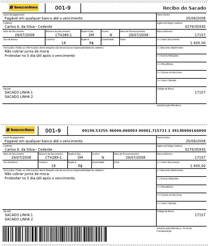 2ª Via De Boleto Bancário – Banco Do Brasil