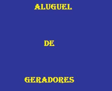 Aluguel De Geradores