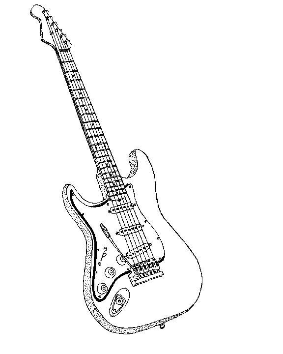 Desenhos de Guitarras para Colorir Online- Pintar