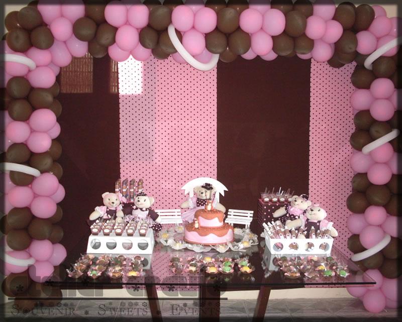 Decoração de Festa Infantil – Marrom e Rosa