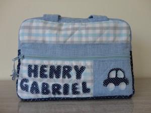 Bolsa bebê personalizada menino azul