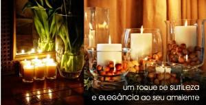 velas decorativas e espelhos