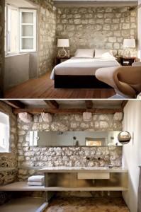 quarto e banheiro com pedras
