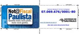 Novo Cartão Nota Fiscal Paulista em Códigos de Barras