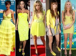 vestidos em tom amarelo