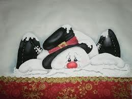 boneco de neve pintura em tecido