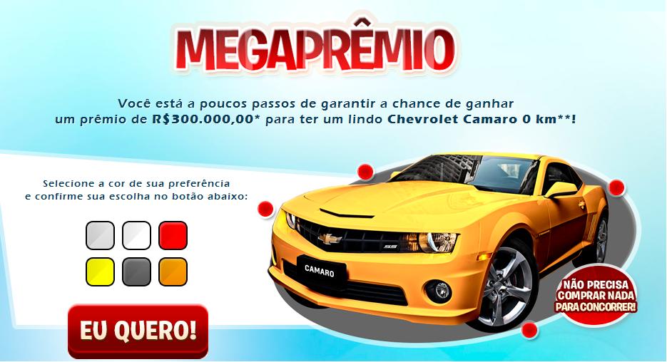 Promoção Mega Prêmios Concorra á um Camaro – Como Participar,Prêmio