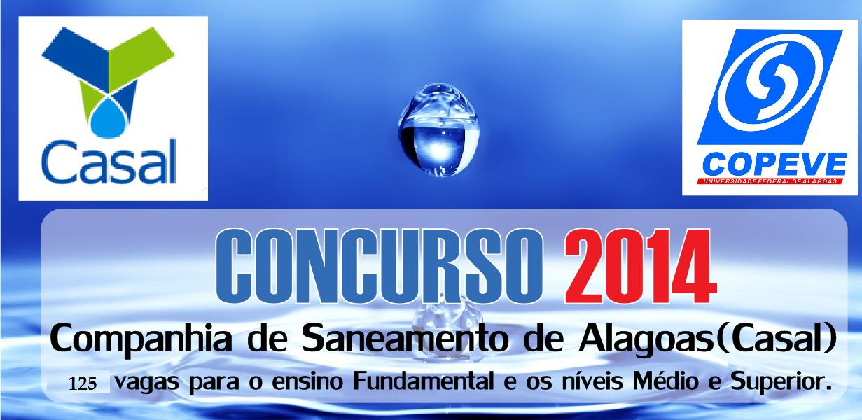 Concurso Companhia de Saneamento de Alagoas 2014 – Inscrição, Edital, Vagas