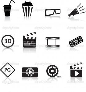 movie and cinema icon set